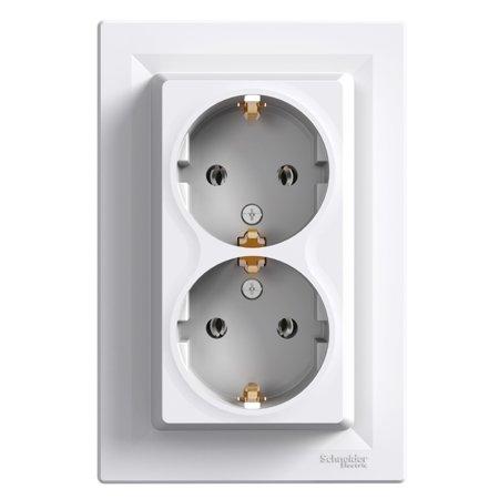 Dvojitá zásuvka SCHUKO, bílá Schneider Electric Asfora EPH9900121