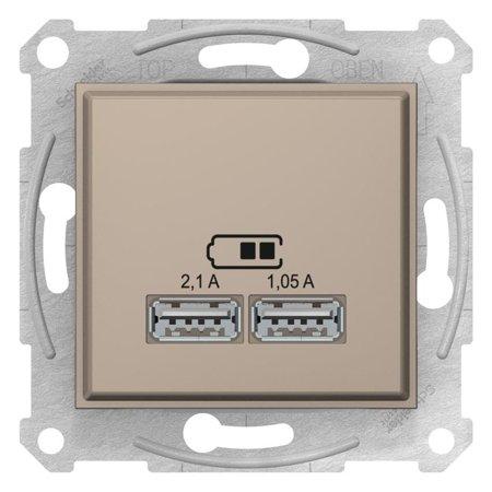 Dvojitá zásuvka nabíječky USB saténová Sedna SDN2710268 Schneider Electric