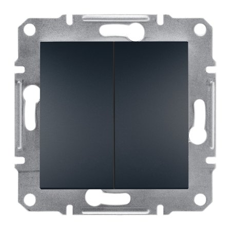 Dvojité tlačítko bez rámečku, antracit Schneider Electric Asfora EPH1100171