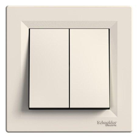 Dvojité tlačítko s rámečkem, krémová Schneider Electric Asfora EPH1100123