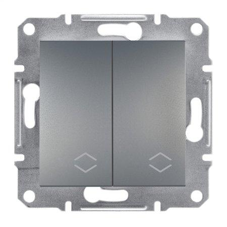 Dvojitý vypínač schodišťový bez rámečku, ocel Schneider Electric Asfora EPH0600162