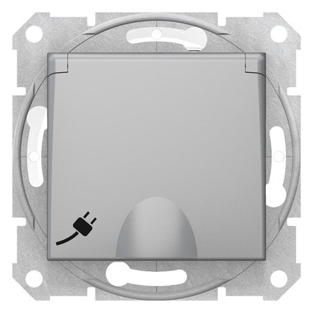 Jednoduchá zásuvka 2P+PE s clonami a krytem, IP44 hliník Sedna SDN2800360 Schneider Electric