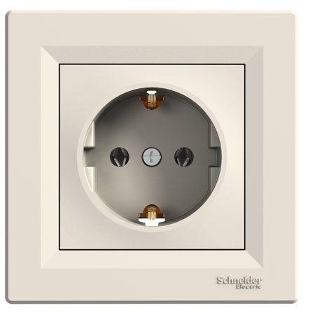 Jednoduchá zásuvka SCHUKO s rámečkem, krémová Schneider Electric Asfora EPH2900123