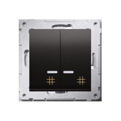 Kontakt Simon 54 Premium Antracit Vypínač křížový dvojnásobný s podsvícením 10 AX rychlospojka, DW7/2L.01/48