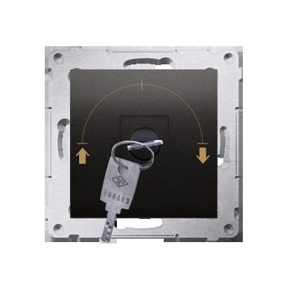 """Kontakt Simon 54 Premium Antracit Vypínač žaluzii na klíč dočasný 3 pol. """"I-0-II, 2 spínače N/O vyt. klíče v poloze 0, DPZK.01/48"""