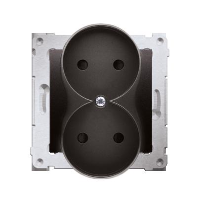 Kontakt Simon 54 Premium Antracit Zásuvka bez uz. s clonou dvojitá pro rámečky NATURE šroubové koncovky, DG2MZN.01/48