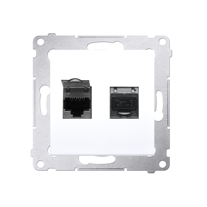 Kontakt Simon 54 Premium Bílý Zásuvka počítačová dvojitá RJ45 kat. 6 stíněné se zaklapávací krytkou D62E.01/11