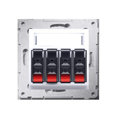 Kontakt Simon 54 Premium Bílý Zásuvka reproduktoru 4-násobná s popisovým pólem (modul) DGL34.01/11