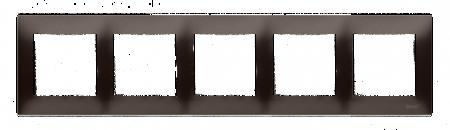 Kontakt Simon 54 Premium Hnědá, matný Rámeček 5-násobný univerzální pro sádrokartonové krabice IP20/IP44, DRK5/46