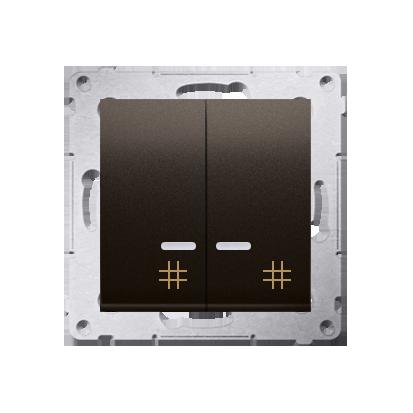 Kontakt Simon 54 Premium Hnědá, matný Vypínač křížový dvojnásobný s podsvícením 10 AX rychlospojka, DW7/2L.01/46