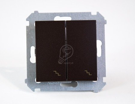 Kontakt Simon 54 Premium Hnědá, matný Vypínač schodišťový dvojnásobný s podsvícením (modul) šroubové koncovky, DW6/2L.01/46