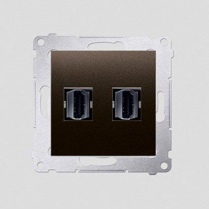 Kontakt Simon 54 Premium Hnědá, matný Zásuvka HDMI dvojitá (modul), DGHDMI2.01/46