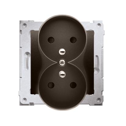 Kontakt Simon 54 Premium Hnědá, matný Zásuvka dvojitá s uzemněním s clonou šroubové koncovky, DGZ2MZ.01/46