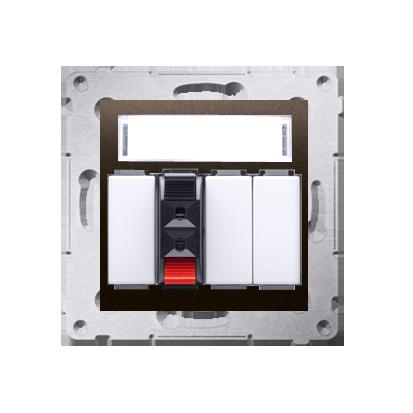 Kontakt Simon 54 Premium Hnědá, matný Zásuvka reproduktoru 1-násobná s popisovým pólem (modul) DGL31.01/46