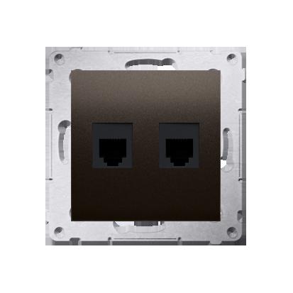 Kontakt Simon 54 Premium Hnědá, matný Zásuvka telefónní dvojitá RJ12 (modul), DT2.01/46