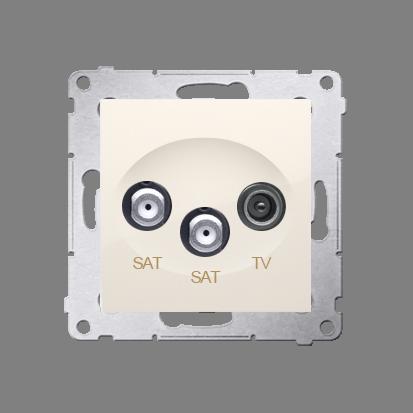 Kontakt Simon 54 Premium Krémová Anténní zásuvka satelitní dvojitá SAT-SAT-elektro (modul), DASK2.01/41