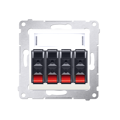 Kontakt Simon 54 Premium Krémová Zásuvka reproduktoru 4-násobná s popisovým pólem (modul) DGL34.01/41