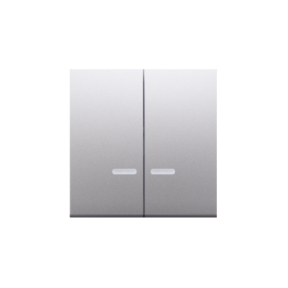 Kontakt Simon 54 Premium Stříbrná Klávesy s čočkou pro vypínače/Dvojnásobná klávesa s podsvícením, DKW5L/43