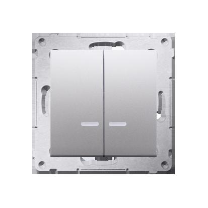 Kontakt Simon 54 Premium Stříbrná Přepínač sériový s podsvícením LED, pro verzi IP44 DW5BL.01/43