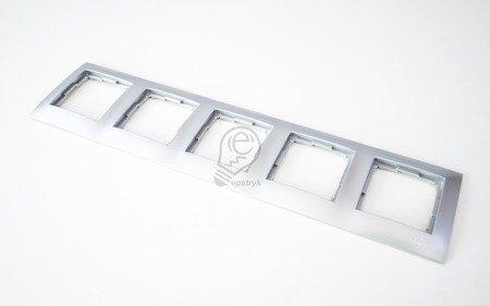 Kontakt Simon 54 Premium Stříbrná Rámeček 5-násobný univerzální IP20/IP44, DR5/43