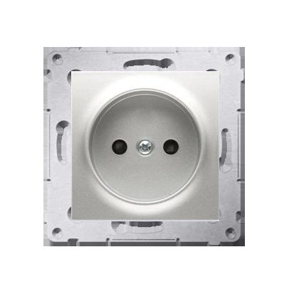 Kontakt Simon 54 Premium Stříbrná Zásuvka bez uzemnění s clonou šroubové koncovky, DG1Z.01/43