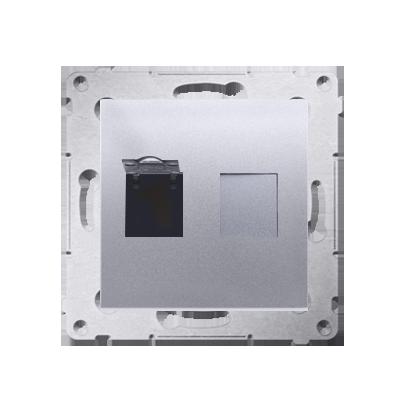 Kontakt Simon 54 Premium Stříbrná Zásuvka počítačová jednonásobná RJ45 kat. 6 se zaklapávací krytkou D61.01/43