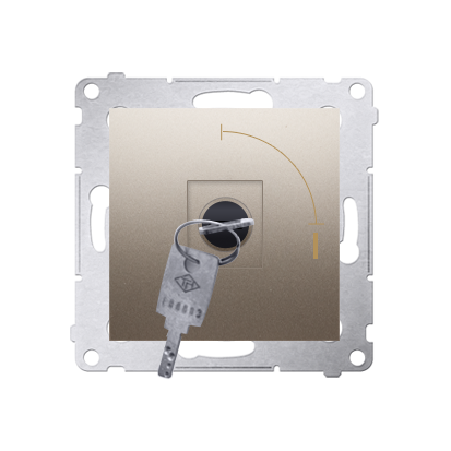 "Kontakt Simon 54 Premium Zlatá Vypínač na klíč jednonásobný 2 pol. ""0-I"" spínač N/O vyt. klíče v každé pozici, DW1K.01/44"