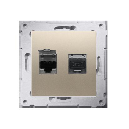 Kontakt Simon 54 Premium Zlatá Zásuvka počítačová dvojitá RJ45 kat. 6 stíněné se zaklapávací krytkou D62E.01/44