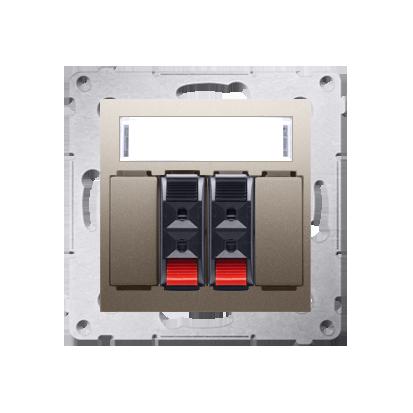 Kontakt Simon 54 Premium Zlatá reproduktorová zásuvka 2-násobná s popisovým polem (modul) DGL32.01/44