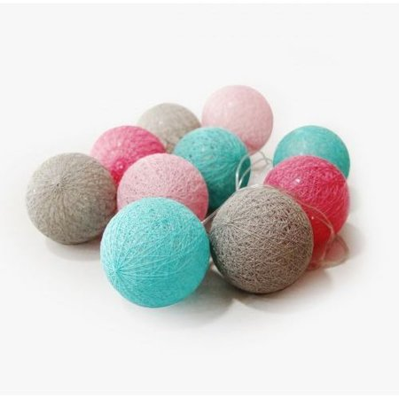 LED koule cotton balls řetěz girlanda světýlka 10 ks odstíny bílá, modrá, černá Milagro EKD1511 na baterie