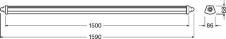 Lineární LED svítidlo 1500 31W 4000K IP65 DAMP PROOF COMPACT LEDVANCE