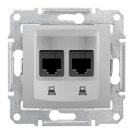 Počítačová dvojitá zásuvka kategorie 5e stíněná hliník Sedna SDN4600160 Schneider Electric