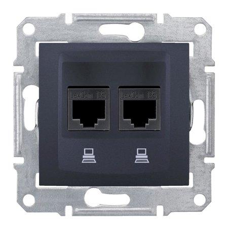 Počítačová dvojitá zásuvka kategorie 6, grafitová Sedna SDN4800170 Schneider Electric