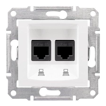 Počítačová dvojitá zásuvka kategorie 6 stíněná bílá Sedna SDN5000121 Schneider Electric