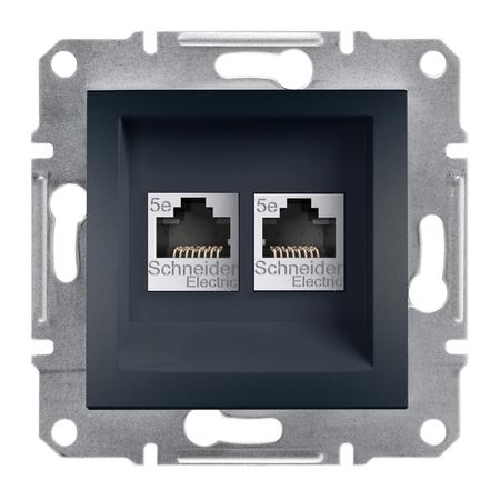 Počítačová zásuvka 2x kat.5e UTP bez rámečku, antracit Schneider Electric Asfora EPH4400171