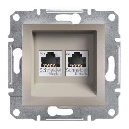 Počítačová zásuvka 2x kat.5e UTP bez rámečku, hnědá Schneider Electric Asfora EPH4400169
