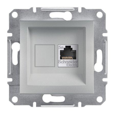 Počítačová zásuvka kat.5e STP bez rámečku, hliník Schneider Electric Asfora EPH5000161