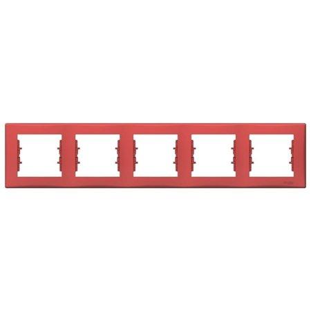 Rámeček 5-násobný vodorovný červená Sedna SDN5800941 Schneider Electric