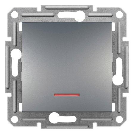 Schodišťový vypínač s podsvícením bez rámečku, ocel Schneider Electric Asfora EPH1500162