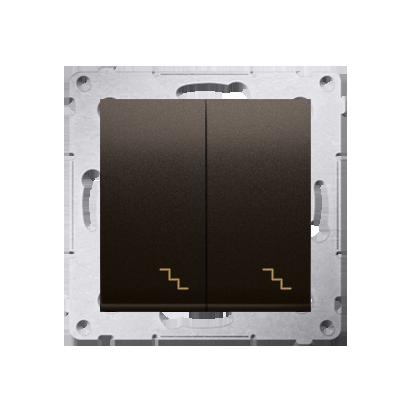 Simon 54 Premium Hnědá, matný Vypínač schodišťový dvojnásobný (modul) šroubové koncovky, DW6/2.01/46