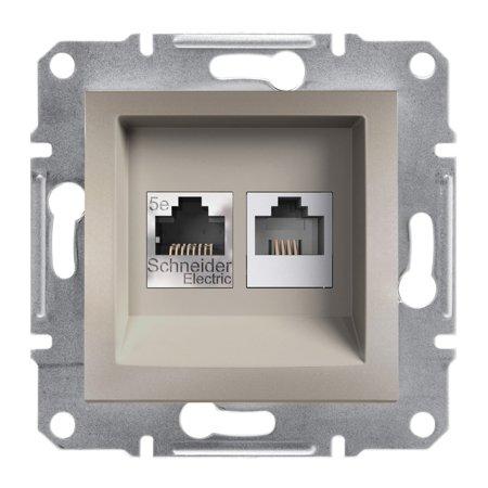 Telefonní a počítačová zásuvka kat5e UTP bez rámečku, hnědá Schneider Electric Asfora EPH4900169