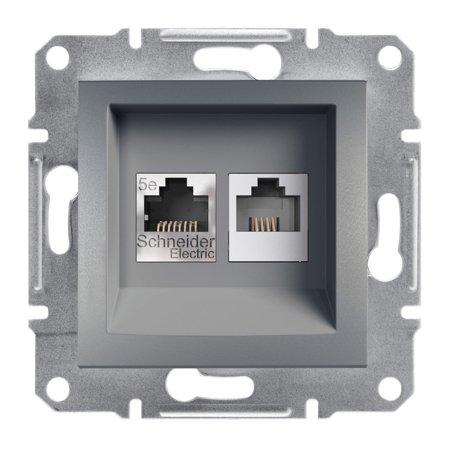 Telefonní a počítačová zásuvka kat5e UTP bez rámečku, ocel Schneider Electric Asfora EPH4900162