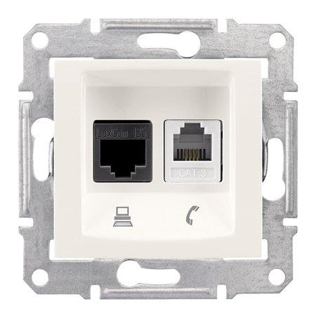 Telefonní a počítačová zásuvka kategorie 5e krémová Sedna SDN5100123 Schneider Electric