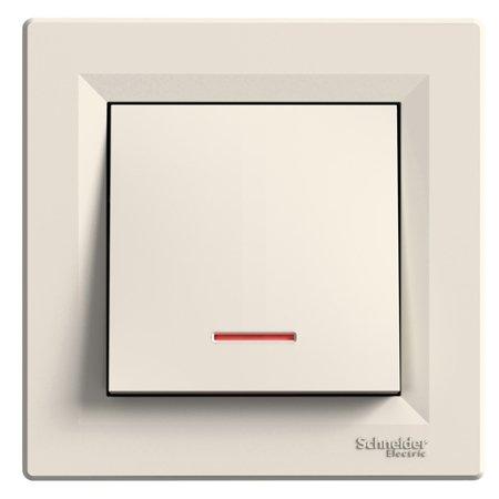 Tlačítko s podsvícením a rámečkem, krémová Schneider Electric Asfora EPH1600123