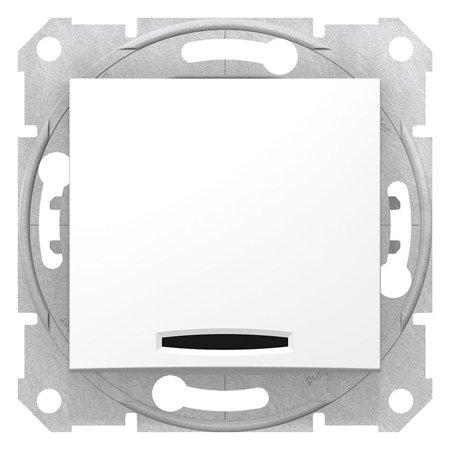 Tlačítko s podsvícením bílá s rámečkem Sedna SDN1600121 Schneider Electric