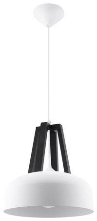 Visící lampa CASCO bílá/černá Dřevo 1xE27 Sollux SL.0387