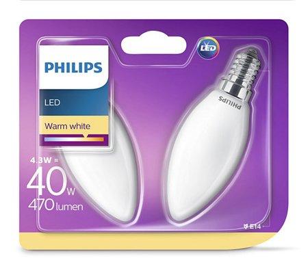 Žárovka LED Philips E14 2700K 4,3W = 40W svíčka dvojbalení 8718696751367
