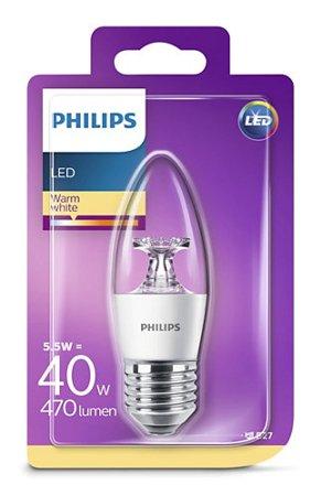 Žárovka LED Philips E27 2700K 5,5W = 40W svíčka 8718696702833