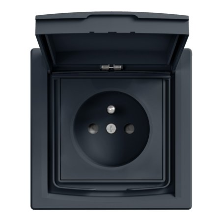 Zásuvka 2P+PE IP44 s rámečkem 1-násobná s clonami, antr Schneider Electric Asfora EPH2800371