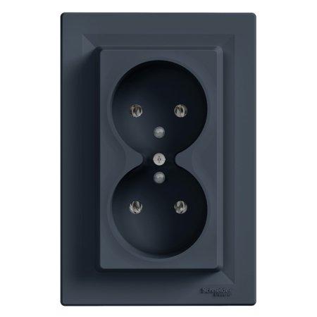 Zásuvka 2x2P+PE, antracit Schneider Electric Asfora EPH9800271